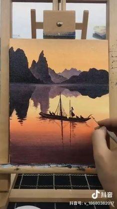 Simple Canvas Paintings, Small Canvas Art, Diy Canvas Art, Art Painting Gallery, Painting Art, Painting Accessories, Canvas Painting Tutorials, Scenery Paintings, Cool Art Drawings