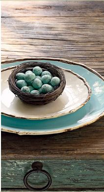 """Easter setting.....I love the """"twigs"""" on the edge of the plates.....thinking you could add to dollar store plates for a cheap remake?!??!?!"""