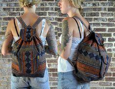 70's Woven Guatemalan Olive & Dark Orange Ethnic Tribal Seapunk Hipster Backpack