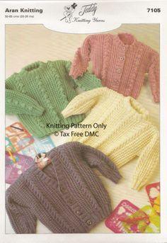VAT Free KNITTING PATTERN ONLY Aran Baby Toddler Cardigans Sweaters 7105 New | eBay