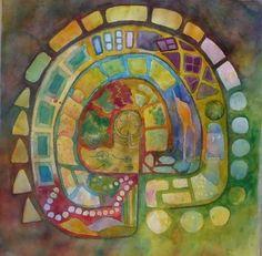 "Labyrinth II by Carolyn Rondthaler Watercolor ~ 22"" x 20"""