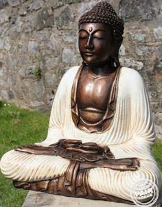 Fairtrade Hand Painted Resin Meditating Thai Buddha Statue 40Cm