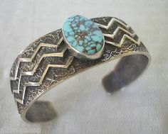 NEW-Signed-NAVAJO-Turquoise-Sterling-Silver-TUFA-CAST-Cuff-BRACELET-Kevin-Yazzie