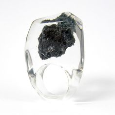 Clear resin ring with Carborundum by sisicata on etsy