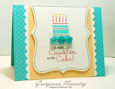 Stampin Up - Patterned Party card. Lovely birthday cake card with Top Note die accent. You could replace the image for any other and still use this design!