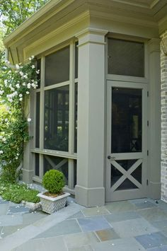 Screen Door and bluestone patio