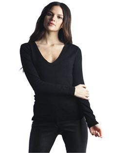 Long Sleeve V Neck Sweater with Side Slits by 525 America