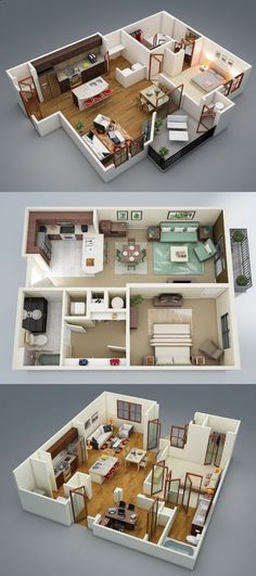 One-Bedroom Apartment / House Plans - Visualizer: Rishabh Kushwaha Sims House Plans, Small House Plans, House Floor Plans, 1 Bedroom House Plans, Apartment Layout, Apartment Design, Apartment Ideas, Sims 3 Apartment, Apartment Guide