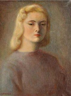 Painting by Ludmila Jirincova-Novakova (Czech, 1912–1994), 1943, A portrait of a young lady, oil on canvas.