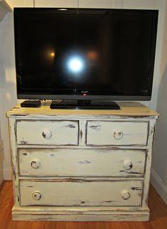 Dresser Turned Distressed TV Stand