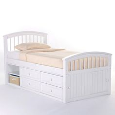 Schoolhouse Captain Bed - White - Kids Captains Beds at Hayneedle
