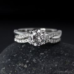 This Moissanite engagement ring rose gold Art deco Solitaire Unique Diamond wedding Alternative Bridal Prong set Anniversary is just one of the custom, handmade pieces you'll find in our engagement rings shops. Engagement Solitaire, Dream Engagement Rings, Engagement Ring Settings, Vintage Engagement Rings, Engagement Rings Twisted Band, Wedding Engagement, Solitaire Rings, Matching Wedding Rings, Infinity Ring Wedding