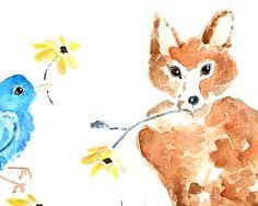 woodland nursery print fox painting  baby by LightheartedDreamer