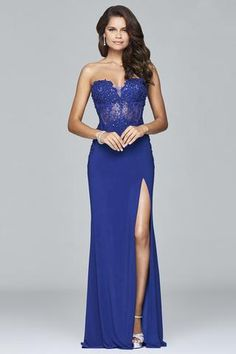 Stun the crowd in one of our beautiful Faviana dresses! FAVIANA S 7907 is a royal blue sequined lace sweetheart neck dress with illusion Faviana Dresses, Prom Dresses 2018, Formal Evening Dresses, Formal Gowns, Evening Gowns, Bridesmaid Dresses, Dress Prom, Beautiful Dresses, Nice Dresses