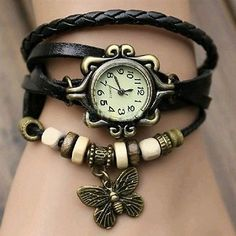 Multi Row Wrap Retro Bracelet Watch - Black Band Material: Artificial Leather Case Diameter: app 2.6cm Multi beads & Antiqued Butterfly