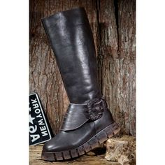 Women Dark Brown Leather Retro Vintage Knee High Wedge Riding Boots SKU-11405720
