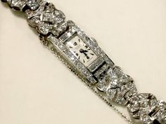 ct Diamond and Platinum Cocktail Watch - Art Deco Style Circa 1940 - AC Silver Antique Watches, Vintage Watches, Elegant Watches, Diamond Are A Girls Best Friend, Art Deco Fashion, Diamond Rings, Cocktail, Diamonds, Engagement