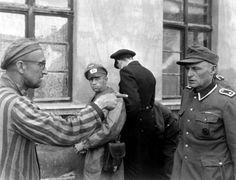 Нацистские концлагеря-Советский военнопленный, после полного освобождения американскими войсками лагеря Бухенвальд, указывает на бывшего охранника, жестоко избивавшего заключенных.