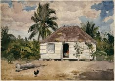 Winslow Homer - Native Huts, Nassau, 1885, watercolor, graphite, and gouache on paper