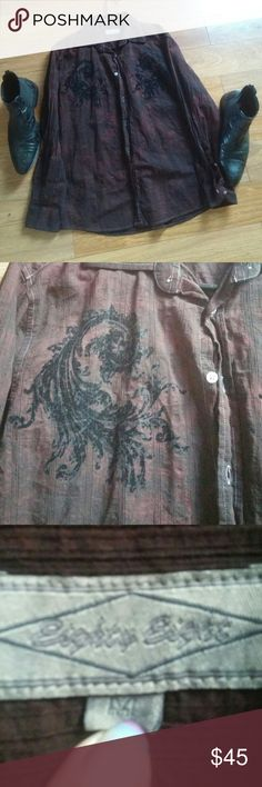 NWOT Fashion shirt with embellishments This 🔥one of a kind shirt demands attention, make heads turn when you walk in. Looks stone washed with black velvet embellishments as pictured above. Eighty Eight Shirts Dress Shirts