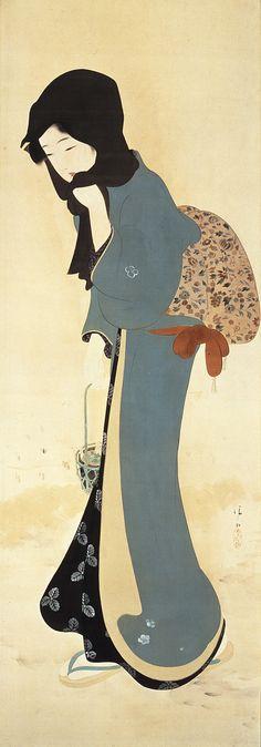 鏑木清方『春のななくさ』大正7年頃(C.1918)、139.0×48.0?、絹本着色 横浜美術館蔵