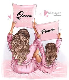 Mother And Daughter Drawing, Mother Art, Daughter Love, Daughters, Clipart, Mothers Day Drawings, Princess Illustration, Portrait Illustration, Textile Logo