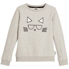 Karl Lagerfeld Girls Grey Choupette Sweatshirt | New Collection
