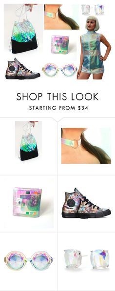 iridescent, 90s lovers, 90s kid, holographic by ypsilonbags on Polyvore featuring moda, Converse and Kate Spade