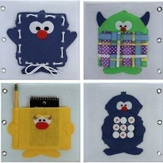 This is a really cute idea. Make a Monster quiet book. Each monster has a different activity with it. :)
