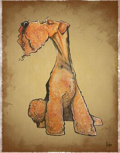 Arrogant Airedale Terrier Drawing  - Arrogant Airedale Terrier Fine Art Print