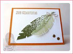 Stampin' Up! Rosa Mädchen Geburtstagskarte mit Four Feathers, eins für alles und Enamel Dots