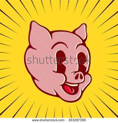 Vintage toons: retro cartoon pig character face, happy smiling piglet pork swine