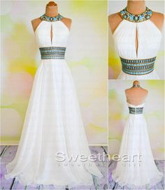 White A-line Beaded Long Prom Dresses, Formal Dresses