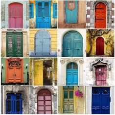 doors in paris.     i've done this with doors in oxford and across ireland - love a coloured old world door.