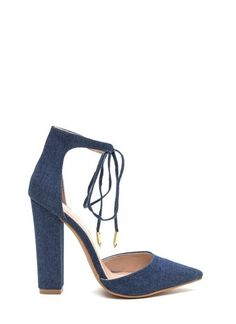"""Beautiful Chunky Heel Denim Pumps 4.25"""" heel with ankle tie straps with gold embellished tips. Pair with denim or a cute summer dress! Fits true to size!"""
