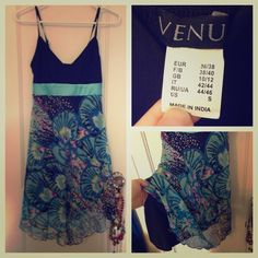 Venus fancy sundress New without tags! I got the wrong size for myself. Beautiful dress that can be dressed up or down. Satin strip, adjustable straps, lined with beautiful chiffon skirt. venus  Dresses