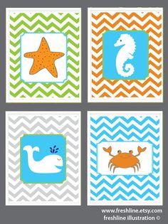 Kids Bathroom Art -  Crab, Seahorse, Whale, Starfish - Ocean Theme - Nursery- Set of Four 8x10 on Etsy, $60.00