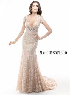 Maggie Bridal by Maggie Sottero For the vintage inspired bride, look no further than this lace sheath, complete with a Chantilly lace overlay with Demir Stretch Satin slip Wedding Dress Styles, Bridal Dresses, Bridesmaid Dresses, Prom Dresses, Vestidos Off White, Wedding Lounge, Maggie Sottero Wedding Dresses, Couture Wedding Gowns, Romantic Lace