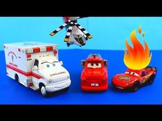 Disney Pixar Cars Rescue squad mater werelnwhsvbavd , b Lightning McQueen on fire after Hellicopter accident. - YouTube