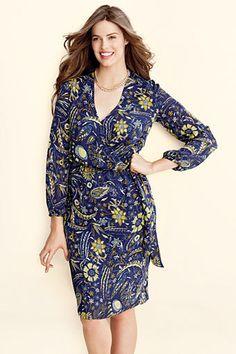 33e6cb6f82f Women s Plus Size Pattern Georgette Wrap Dress from Lands  End