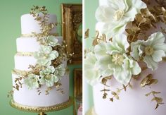 laduree inspired wedding cake, white with gold and mint green decorations #wedd #cake