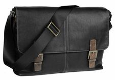 Editor's Sale Picks: Men's Boconi Double Buckle Black Leather Messenger Bag