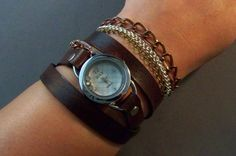Leather Watch Embellished with chains by 4MLeatherDesign on Etsy, $64.00