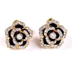 Hot Sale Retro Style Crystal rose Earrings Plating KC gold Fashion crystal Flower Shape Earrings jewelry for Women 2017 New - CuteRun #jewelry #necklace #earring #earrings #rings #rings #bracelet #bracelets  #jewelryforher  #jewelryforhim