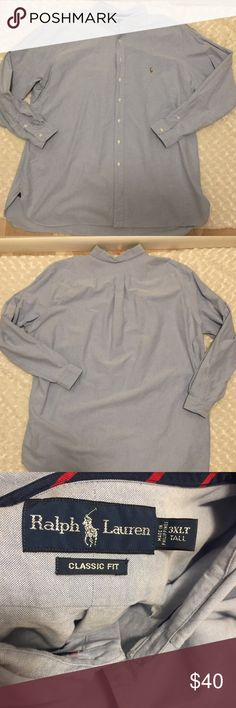 Ralph Lauren Long Sleeve Button Down Size 3X Long sleeve button down. Pre-owned condition, gently used with no flaws. Size 3X. Color: Light denim. Fabric: 💯 cotton Ralph Lauren Shirts Casual Button Down Shirts