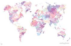 World Map - Purple