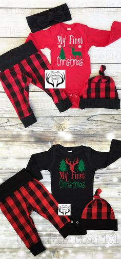 Super adorable baby boy Christmas outfits! Love these! | Baby | Christmas | My First Christmas | Baby Boy | Plaid #affiliatelink #baby #christmas