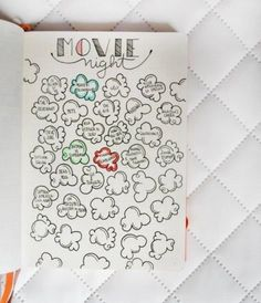 5 BuJo Ideas in 2016 Bullet Journal Movie Night. Color in the kernel when you've finished the movieBullet Journal Movie Night. Color in the kernel when you've finished the movie Journal Layout, Journal Pages, Journal Ideas, Back To University, Bullet Journel, Passion Planner, Wreck This Journal, Love Journal, Ideias Diy