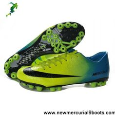 2013 New Nike Mercurial Veloce AG Green Black Blue Boots Shop