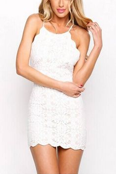 White Backless Lace Mini Dress - US$21.95 -YOINS